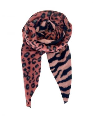 Black Colour Alba Zebra Leo Scarf in Rose