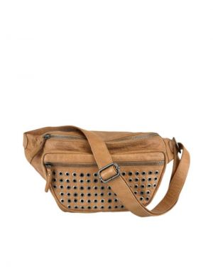 Black Colour Tomboy Studded Leather Bumbag in Frappe