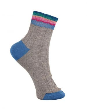 Black Colour Minnie Multi Stripe Socks in Grey