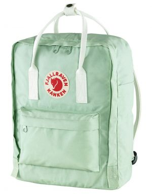 Fjallraven Classic Kanken Backpack in Mint Green and Cool White