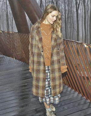 Numph Bethia Long Coat in Tweed