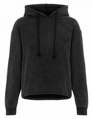 Pieces Chilli Washed Hoodie in Black