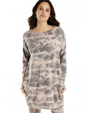 A Postcard from Brighton Gabbi Longline Cloud Print Sweater in Dusky Pink