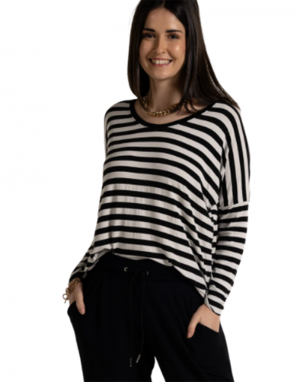 A Postcard from Brighton Sonia Striped Top in White