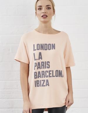Sundae Tee Cities T-shirt in Peach