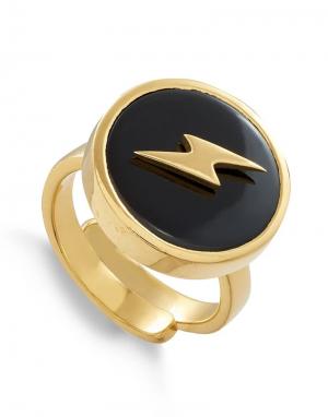 SVP Stellar Large Ring in Lightning Black Quartz Gold