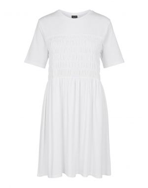 Pieces Chrissy Shirred Dress in White