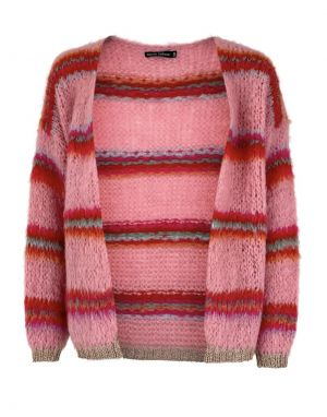 Black Colour Taylor Brushed Cardigan in Pink