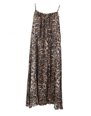 Black Colour Celina Strap Dress in Leopard