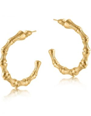 Big Metal Summer Bamboo Earrings - Gold