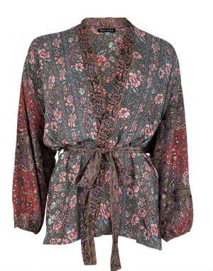 Black Colour Luna Short Kimono in Rose Pansy