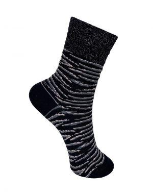 Black Colour Ambra Tiger Socks in Black