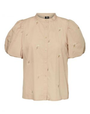 Vero Moda Cora Embroidered Shirt in Travertine