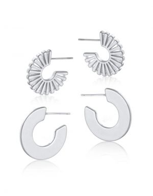 Big Metal Vivienne Huggie Earrings - Silver