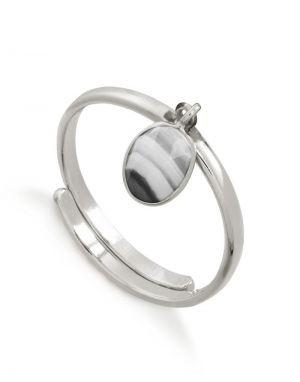 SVP Rio Ring in White Striped Agate Silver