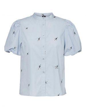 Vero Moda Cora Embroidered Shirt in Blue Fog