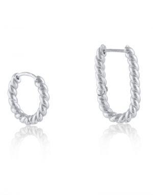 Big Metal Louise Rope Mismatch 2 Pack Earrings in Silver