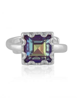 Big Metal Sienna Gem Adjustable Ring - Silver/Lilac