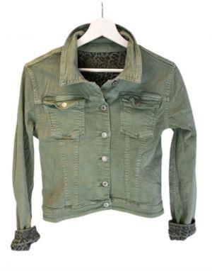 Piro Reverse Denim Jacket in Khaki/Leopard