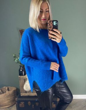 Piro Mohair Boat Neck Jumper in Electro Blue