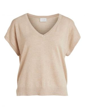Vila Lesly V-Neck Knitted Top in Natural Melange