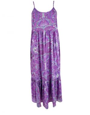 Black Colour Vero Boho Strap Dress in Lavender Paisley