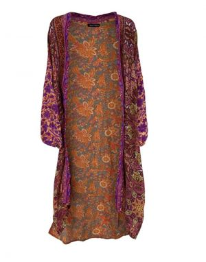Black Colour Luna Long Kimono in Exotic Vibe
