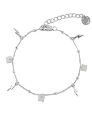 Big Metal Emilia Lightening Shell Charm Bracelet - Silver