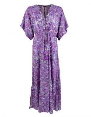 Black Colour Luna Long V-Neck Dress in Lavender Paisley