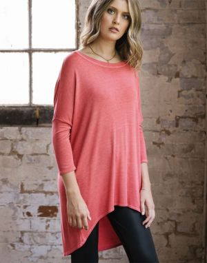 A Postcard from Brighton Flirty Dipped Hem Top in Cherry