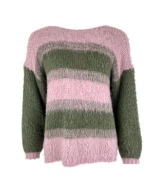 Black Colour Avery Brushed Jumper in Army/Rose