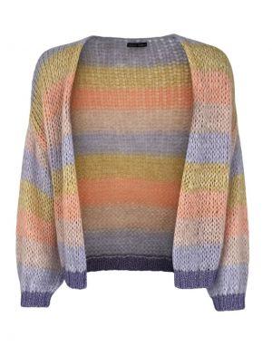 Black Colour Filuca Stripe Knit Cardigan in Peach