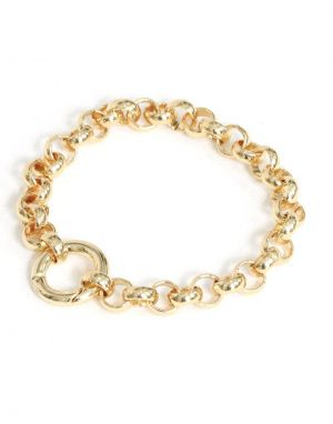 Big Metal Cornelia Belcher Lock Chain Bracelet - Gold