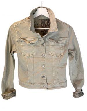 Piro Reverse Denim Jacket in Beige/Snake