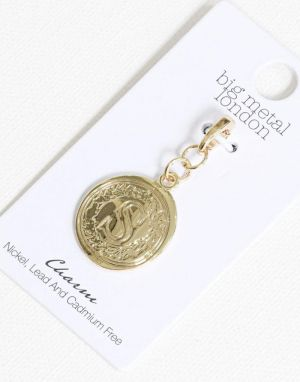Big Metal S Brass Charm in Gold
