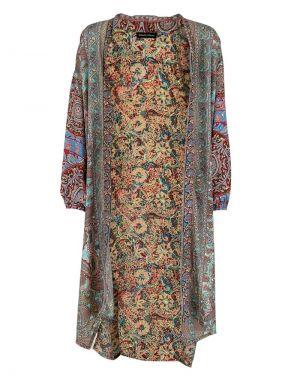 Black Colour Luna Long Kimono in Coral Mix