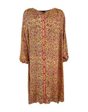 Black Colour Luna Oversized Shirt Dress in Golden Coral