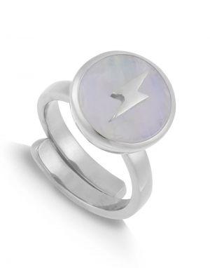 SVP Stellar Midi Ring in Lightning Moonstone Silver