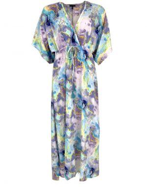 Black Colour Luna Long V-Neck Dress in Marble Blue