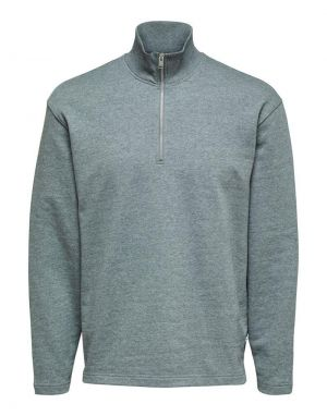 Selected Homme Relax Carson Half Zip Sweater in Grey