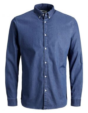 Jack and Jones Premium Logo Stretch Denim Shirt