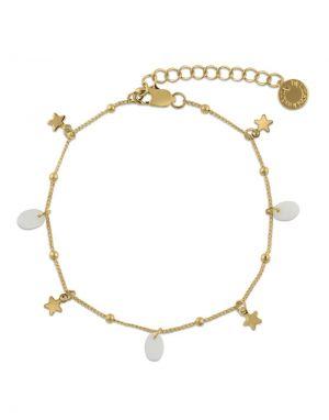 Big Metal Emilia Star Charm Shell Bracelet - Gold