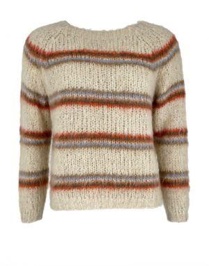Black Colour Toni Knit Sweater in Warm Beige