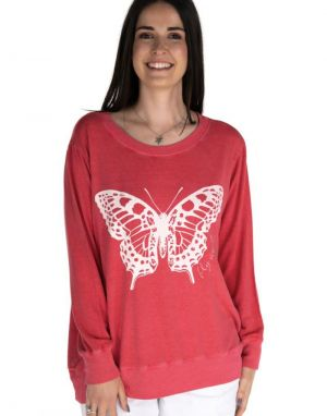 A Postcard from Brighton Fly Away Butterfly Sweat in Cherry