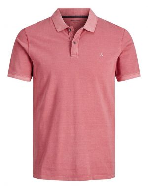 Jack and Jones Washed Polo Shirt in Slate Rose