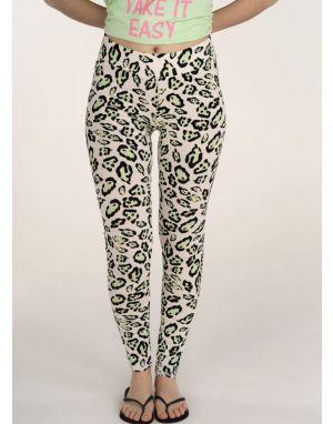 Sundae Tee Cher Animal Print Leggings in Green