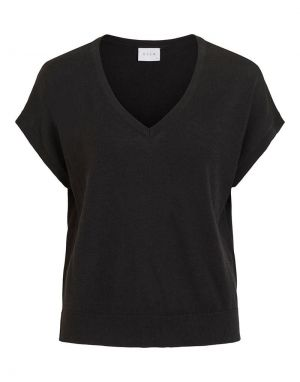 Vila Lesly V-Neck Knitted Top in Black