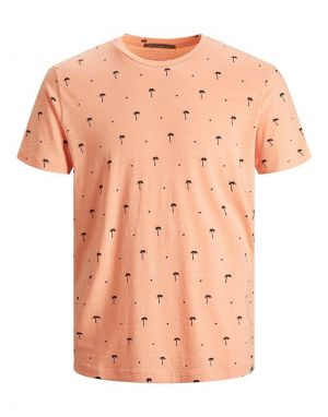 Jack and Jones Poolside Printed T-shirt in Shell Coral