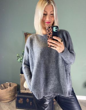 Piro Mohair Boat Neck Jumper in Anthracite Grey