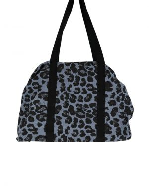 Black Colour Pepe Weekend Bag in Leopard and Jeans Blue